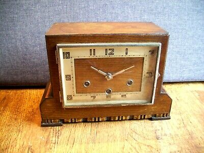 Antique 1930's Art Deco Kienzle Oak Mantel Clock (Rectangular Westminster Time)