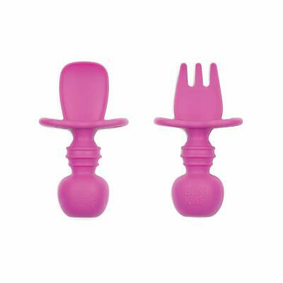 Bumkins Fuchsia Silicone Chewtensils, Baby Fork and Spoon Set - 306543