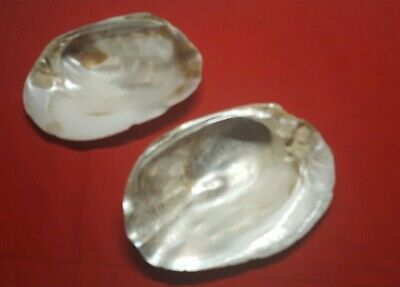 Vintage ♡ 2 Large Polished Oyster Shell Mother Of Pearl Appetizer Dishes