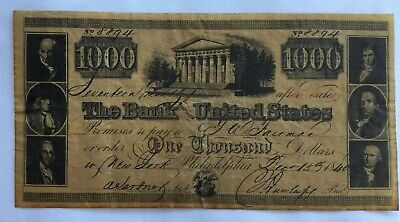 Bank of United States $1000 Note Reproduction