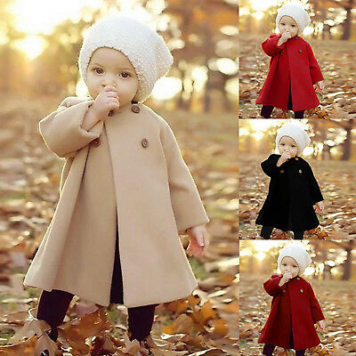 Girls Kids Winter Double Breasted Cape Coat Cloak Coat Jacket Outerwear Clothes