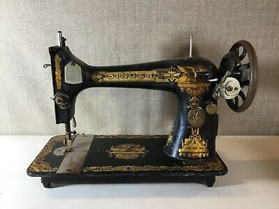 Antique Singer Treadle Sewing Machine Egyptian Revival Sphinx Vintage