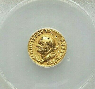 (AD 69-79) VESPASIAN GOLD AV AUREUS (6.11 gm, 5h) ANACS VF-25 DAMAGED,EX-JEWELRY