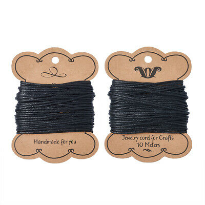 10m Black Cotton Wax Cords Macrame String Craft Diy Thread Wire Multi-Size