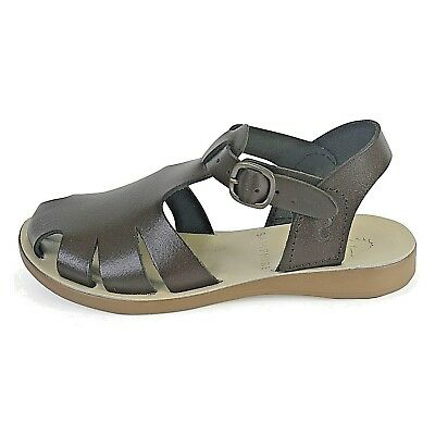 Petasil Samphire Girls Earwyn Brown Leather Washable Closed Toe Buckle Sandals