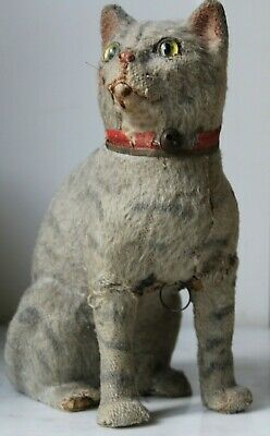 SCARCE ANTIQUE GERMAN TOY CAT WITH VOICE HEIGHT 25CM Circa 1900 MOHAIR ON WOOD