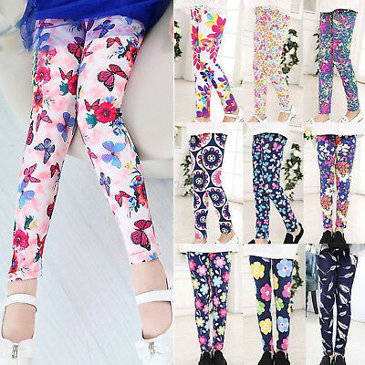 Girls Winter Warm Stretch Leggings Floral Butterfly Kids Children Pants Trousers