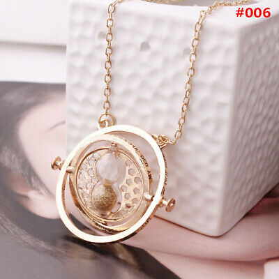 Harry Potter Time Converter Hourglass Pendant Necklace Golden Jewelry Chain Gift