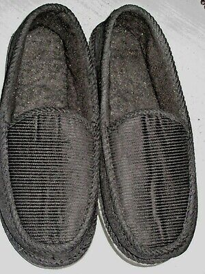 Bright Men's BLACK Corduroy House Slippers Shoes Moccasin Slip-on, Size:13