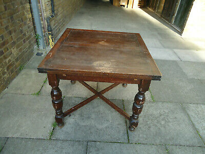 Antique Solid Old Oak Drawer Leaf Extendable Dining Table Vintage 1930's ,REPAIR