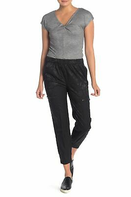 New $199 Rachel Roy Womens Black Floral Satin Pull-On Ankle Casual Pants Size Xs
