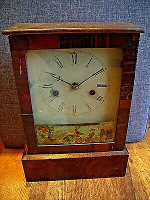 Antique 19th Century Oak Mantel Clock with Design to Glass Front (Pendulum Key)