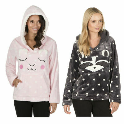 Ladies Flannel Novelty Hooded Top Polka Spot 3D Ears Animal Face Design UK 8-22