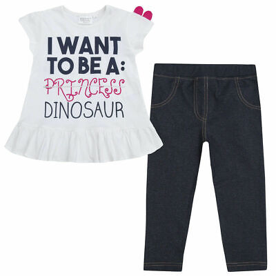 Girls Dino Dinosaur Frill Top T Shirt Dress Tunic Leggings Jeggings Outfit NB-8Y