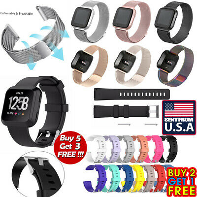 US Replacement Silicone Milanese Stainless Steel Watch Band For Fitbit Versa o7