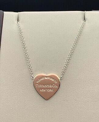 Tiffany & Co. Sterling Silver & Rubedo Metal Double Chain Heart Tag Necklace