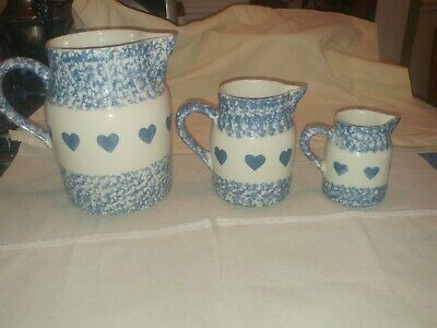 Vintage Roseville Ohio, Blue Spongeware with Hearts, pitcher, creamer 32 ounce