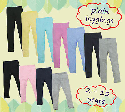 New Girls Plain Everyday Casual Leggings Soft Stretch Leggings 2 -13 Years Cheap