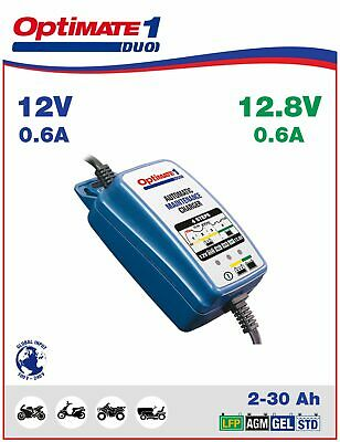 OptiMate 1 Duo Battery Charger Maintainer 12V/12.8V 0.6A TM402-D EU Plug Lithium