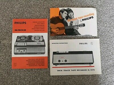 Vintage 1960s PHILIPS Tape Recorder Operating Manuals