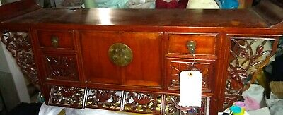 "Antique Asian Chinese 30"" W  Carved  Small Kang Altar Table Coffer Cabinet"