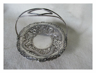 Antique Chinese Silver Basket with Dragon, Asian Hallmarks, Signed 82 Grams