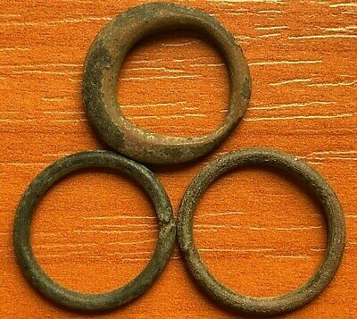 "Lot of 3 Ancient Celtic Proto Money Bronze Rings ""Coins"" Circa 400 BC Very Rare"
