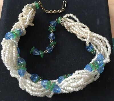 Vtg ANTIQUE Art Deco or Victorian Necklace Glass Crystal Bead Blue Jewelry lot i