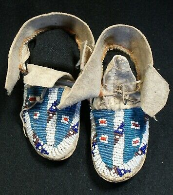 Pair Of Antique 1890s Sioux Indian Beaded Child Moccasins