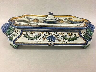 ANTIQUE INKWELL GIEN French Majolica painted encier Spain Lions Head Pen Rests