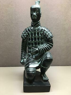 Chinese Terracotta Kneeling Soldier Warrior Brass Statue Figurine Qin Sculpture