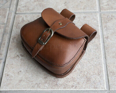 Medieval Buckle Bag Large Day-Pouch Heavy Duty Brown Leather Reenactment Cosplay
