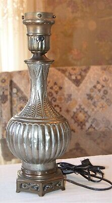 VINTAGE~PRESSED METAL~TABLE LAMP~Tin~Copper~Art Deco~21/4 Filter~Torchere~Silver