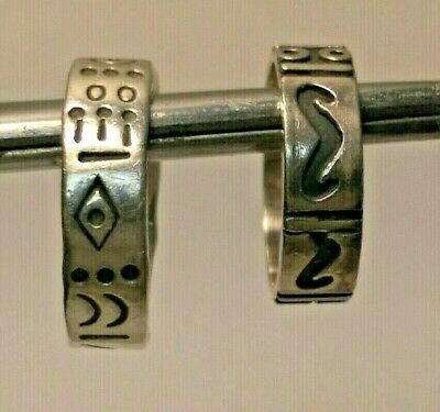 (2)Vintage Mexico & Native American Sterling Silver Symbol Rings- Sz 10.5 / Sz 8