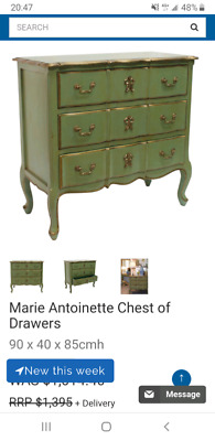 French Provencal bedroom drawers, in aged antique finish.