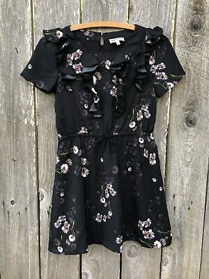 JUICY COUTURE GIRLS Black Floral Dress Ruffle Drawstring Waist Size 12 K⭐️