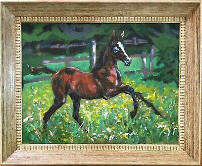 Oil Painting -Horse/Foal/Colt/Filly-Landscape-Animal
