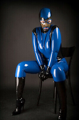 100%Latex Gummi Rubber Full Cover Catsuit Blue Tights Party Mask Glove SizeS-XXL