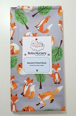 New Unisex Cotton Bassinet fitted sheet - Foxes & trees on light grey