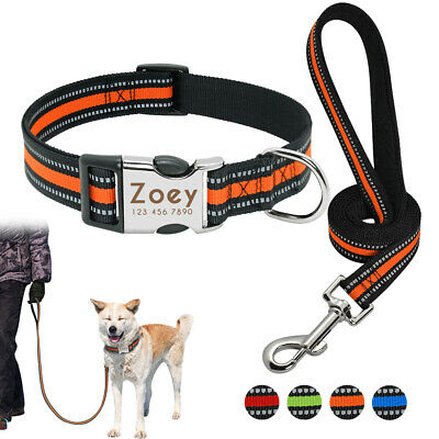 Reflective Nylon Personalized Dog Collar and Leash Pet ID Name Tag Engraved S-L
