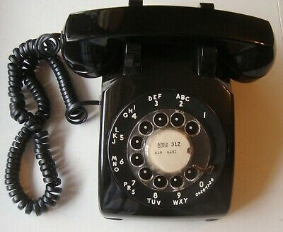 Bell System Western Electric Black Rotary Dial Desk Telephone 500DM, Dated 6-6