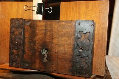 "Antique Brass Iron Mortised Door Lock Huge Oak Castle Church Bank Door 9"" x 5"""