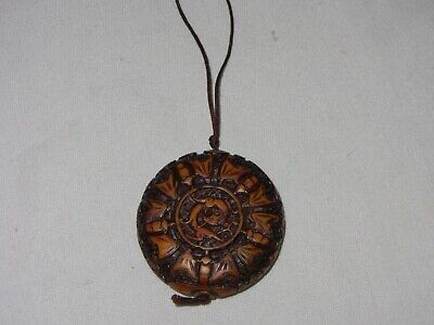 Vintage Carved Chinese Dragon Bat Amulet Hanging Round Pendant Wood Two Sided