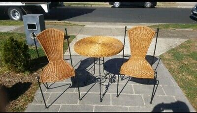 Vintage Style Cane Wicker & Wrought Iron 3 Piece Outdoor Settin Table & Chairs