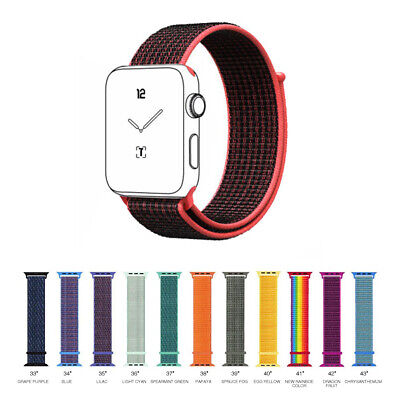 For Apple iWatch Series 4/3/2/1 Nylon Sports Loop Wrist Watch Band Strap 38/40mm