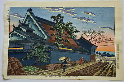 Japanese Woodblock Print Takeji Asano  Twilight In The Village, Nara