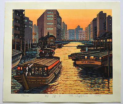 LARGE RARE FIRST LIMITED EDITION JAPANESE WOODBLOCK PRINT By MOTOSUGU SUGIYAMA.