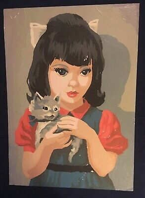 Vintage Paint By Number Picture Completed Girl Kitten Cat 1960s Midcentury Retro