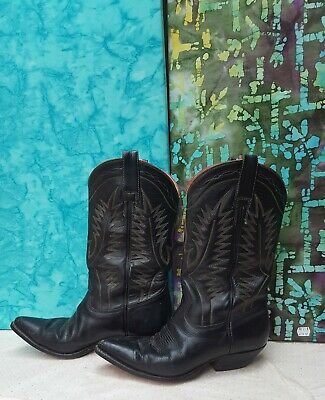 Womens VINTAGE Chris Romero Route 66  Cowboy Boots 7E black red yellow leather