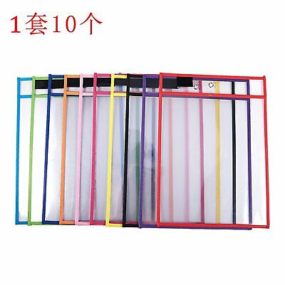 10Pcs Multicolored Dry Erase Pockets School Supplies for Teachers,Reusable D 3F7